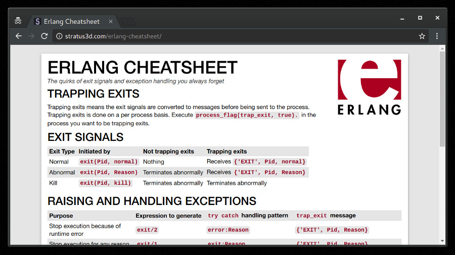 Erlang cheatsheet webpage screenshot