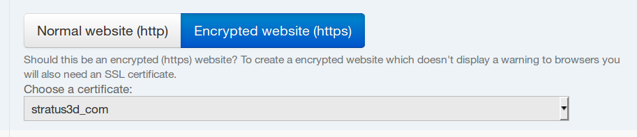 encrypted website option